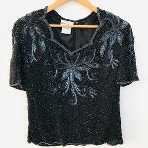 STenay Beaded Blouse Embellished Black Size 1X
